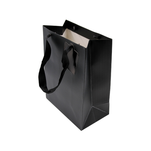 12 buste regalo shopper in carta colore nero 26x12,5x32 h con manico in nastrino busta