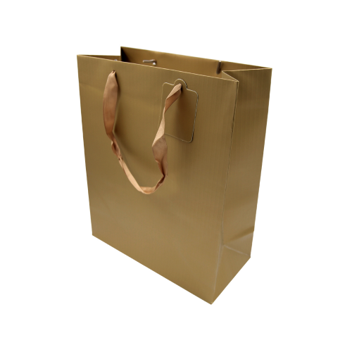 12 buste regalo shopper in carta colore oro 26x12,5x32 h manico in nastrino  buste busta shopper